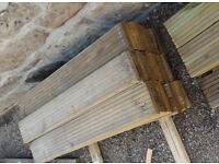 Used Pressure treated redwood decking 145 x 28 mm