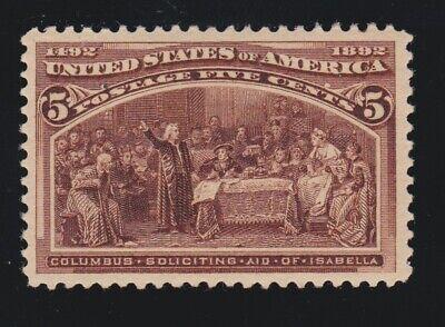 US 234 5c Columbian Exposition Mint XF OG LH SCV $50
