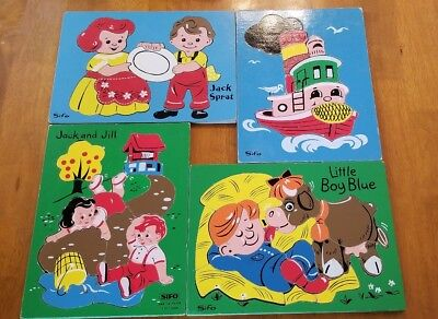 4 Vintage SIFO Wood Wooden Tray Puzzles Jack and Jill, Little Boy Blue COMPLETE!