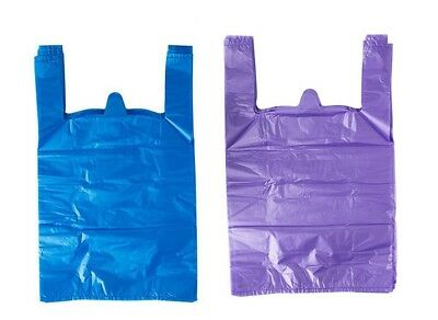 Blue And Purple Plastic T-shirt Shopping Bags Handles Large 11.5x6x21 Lot 200