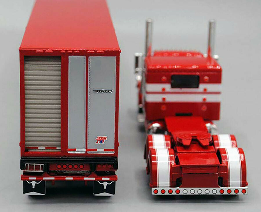 DCP 1/64 Red White 389 Peterbilt Tri-Axle Wilson Livestock Trailer 60-0521 3