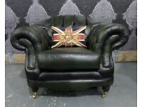 Stunning Chesterfield Thomas Lloyd Club Chair in Green Leather - UK Delivery