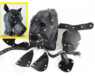 LEDER GIMP Hund Welpen Haube Vollmaske Mund Kostüm Party Maske ZIPPED (Gimp Maske Kostüm)