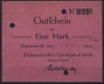 [20900]  Notgeld DELMENHORST, Delmenhorster Linoleum-Fabrik, Anker Marke, 1 Mark