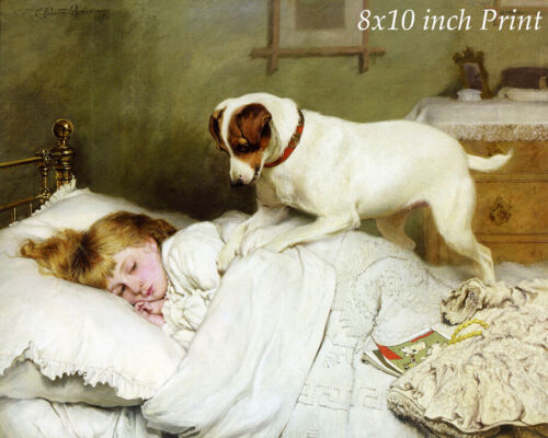 Time to Wake Up by Charles Burton Barber - Sleepy Girl Bed Dog 8x10 Print 3160