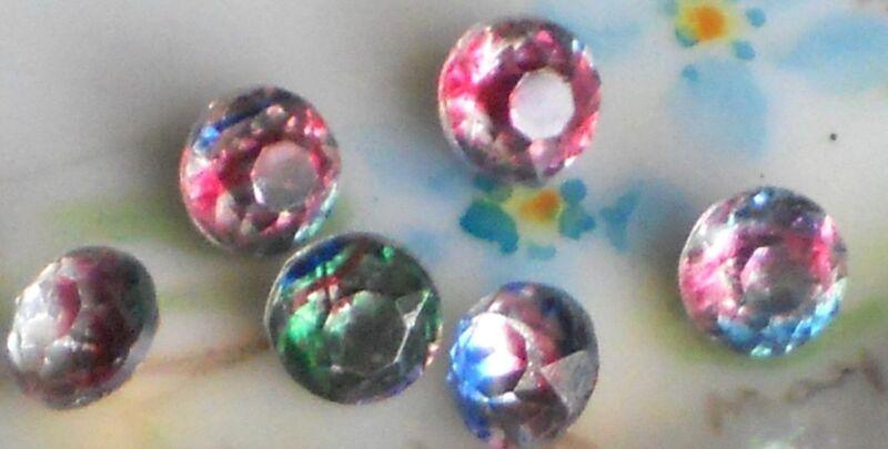 Vintage Iridis Glass Rhinestones IRIS Vitrail Pointed Back Foil 6mm NOS #1113P