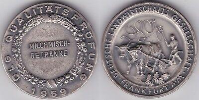 BRD-Medaille Frankfurt DLG Qualitätsprüfung 1959 Milchmisch-Getränke Deutsche La