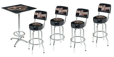 - Harley-Davidson Bar & Shield Eagle Cafe Table & 4 Swivel Bar Stool Set HDL-12327