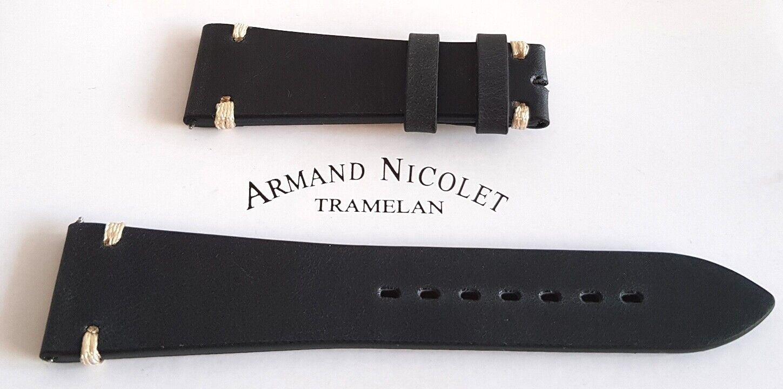 ARMAND NICOLET Uhrenarmband Ersatzband f. Uhr Lederband 24 mm NEU LEDER HANDMADE
