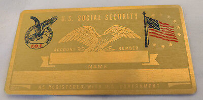 Fraternal Order Eagles US Social Security Metal Card Tag NOS VTG Perma Products​