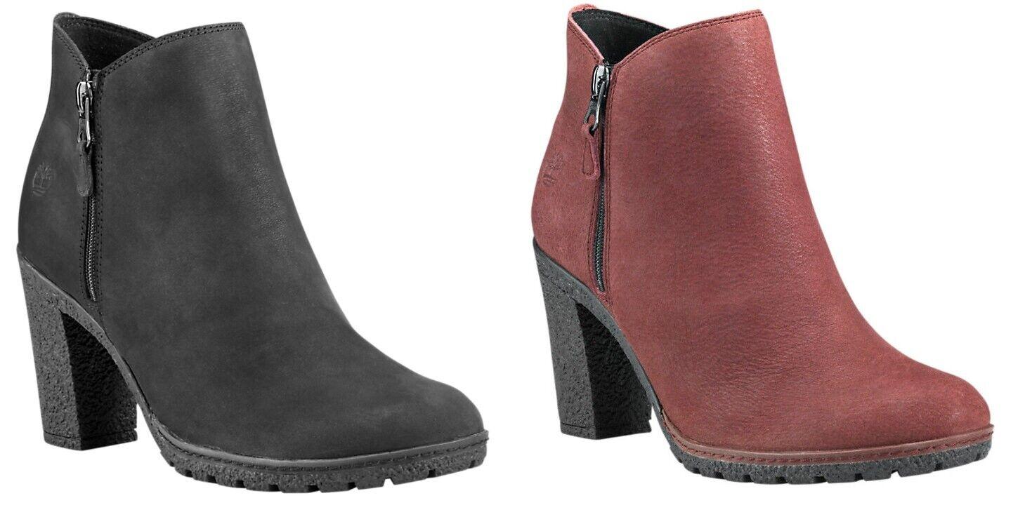 Timberland Women's Tillston High Heel Ankle Boots Black Burgundy Brown