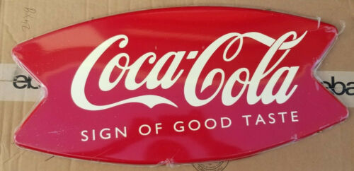 VINTAGE Coca Cola Fish Tail Hanging METAL SIGN