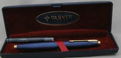 Parker 75 Lapis Blue Chinese Lacquer Fountain Pen - Unused Mint In Box - Rare Metallic Blue Fountain Pen