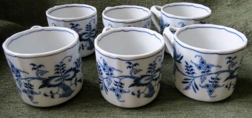 RARE Vintage Blue Danube 6 Soup or Coffee Mugs - Old Banner Hallmark
