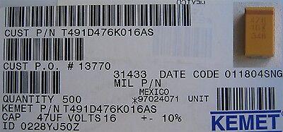 Kemet Tantalum Capacitors 47uf 16v Smd 100 Pcs