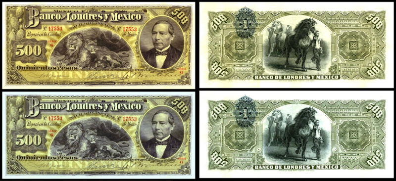 !COPY! 2 x EL BANCO DE LONDRES Y MEXICO 500 PESOS BANKNOTES !NOT REAL!