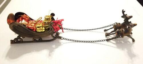 Metal Christmas Santa Sleigh Reindeer Presents Holiday Decor Brass? Cast Iron?