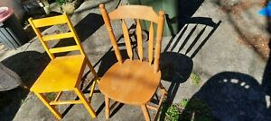 Wooden dining chairs x 2