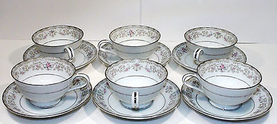 Vintage 12 pcs. Japanese NORITAKE EDGWOOD Porcelain Cups and Saucers Set