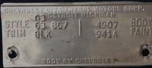 Corvette ORIGINAL 1963 Trim Tag!