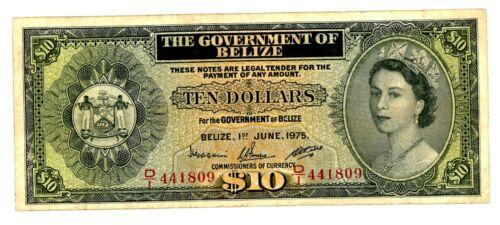 Belize  … P-36b … 10 Dollars … 1975 … *F-VF*.
