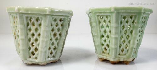 Antique Chinese Japanese Celadon Reticulated Jardiniere Planter Pot Bonsai