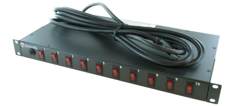 10 OUTLET RACK MOUNT POWER STRIP PDU LIGHT CONTROLLER w/ LIGHTED POWER SWITCHES