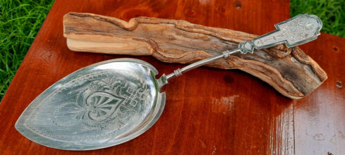 Coin Silver Aesthetic Ivy Pattern Pie or Cake Server with Bright Cut Blade