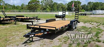 New 2020 7 X 20 10k Gvwr Heavy Duty Flatbed Wood Deck Equipment Trailer W Ramps