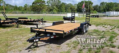 New 2020 7 X 20 10k Gvwr Heavy Duty Flatbed Wood Deck Equipment Trailer W Ramps