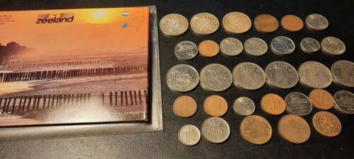NETHERLANDS COINS SET LOT . SILVER 1955 1956 1957 1 GULDEN ,1939 1942 1 CENT  - $36.00