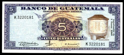 Guatemala … P-53f … 5 Quetzal … 3.1.1969 ... ch*UNC*