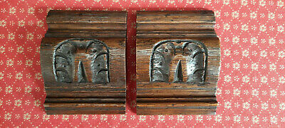 A FABULOUS PAIR OF ANTIQUE FRENCH CARVED OAK CORBELS / EMBELLISHMENTS c1900