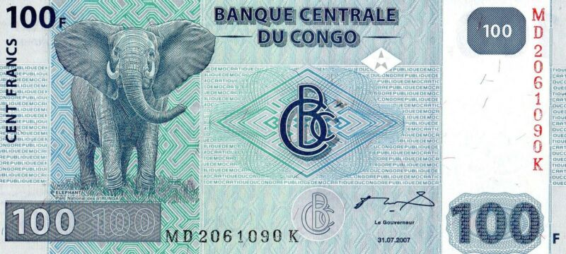 CONGO 2007 100 FRANCS CURRENCY UNC