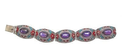 "Antique Chinese Export Red Blue Enamel Purple Cabochons Filigree Bracelet 7.5""L"
