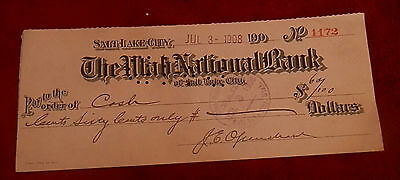 1908 Salt Lake City Utah National Bank  Check No  1172