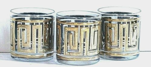 CULVER Old Fashion Cocktail Glass GREEK KEY EMBOSSED 22K Gold Pattern Lot of 3