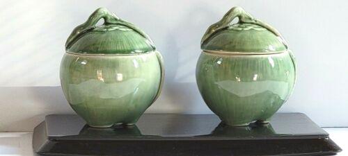 Vintage Celadon Color Ceramic Vegetable Shaped Jar with Vent Hole Lid Lot of 2