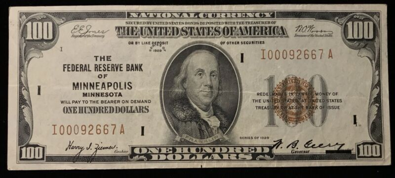 1929 $100 FEDERAL RESERVE BANK NOTE *MINNEAPOLIS DISTRICT *NICE GRADE! #CU059