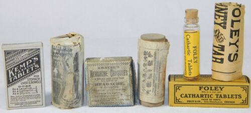 Lot of 5 Antique/Vtg Quack/cure pill medicines w Original contents Apothecary