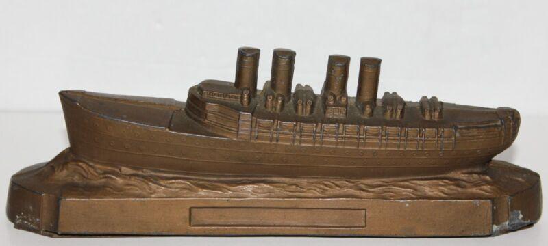 "Vintage Cast Aluminum Ship Bank - Approx. 2 7/16"" T x 7 1/8"" L x 1 1/2"" W No Key"