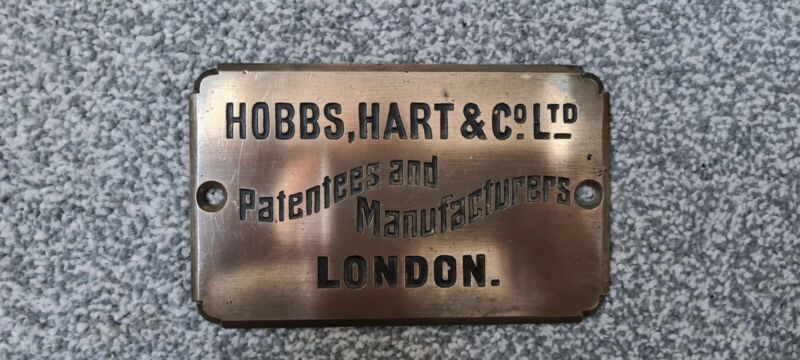 Hobbs, Hart And Co Safe Maker Plaque Plate London Antique Salvage