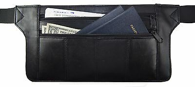Genuine Real Leather Travel Organizer Bum Bag Hide Money Waist Belt Fanny Pack