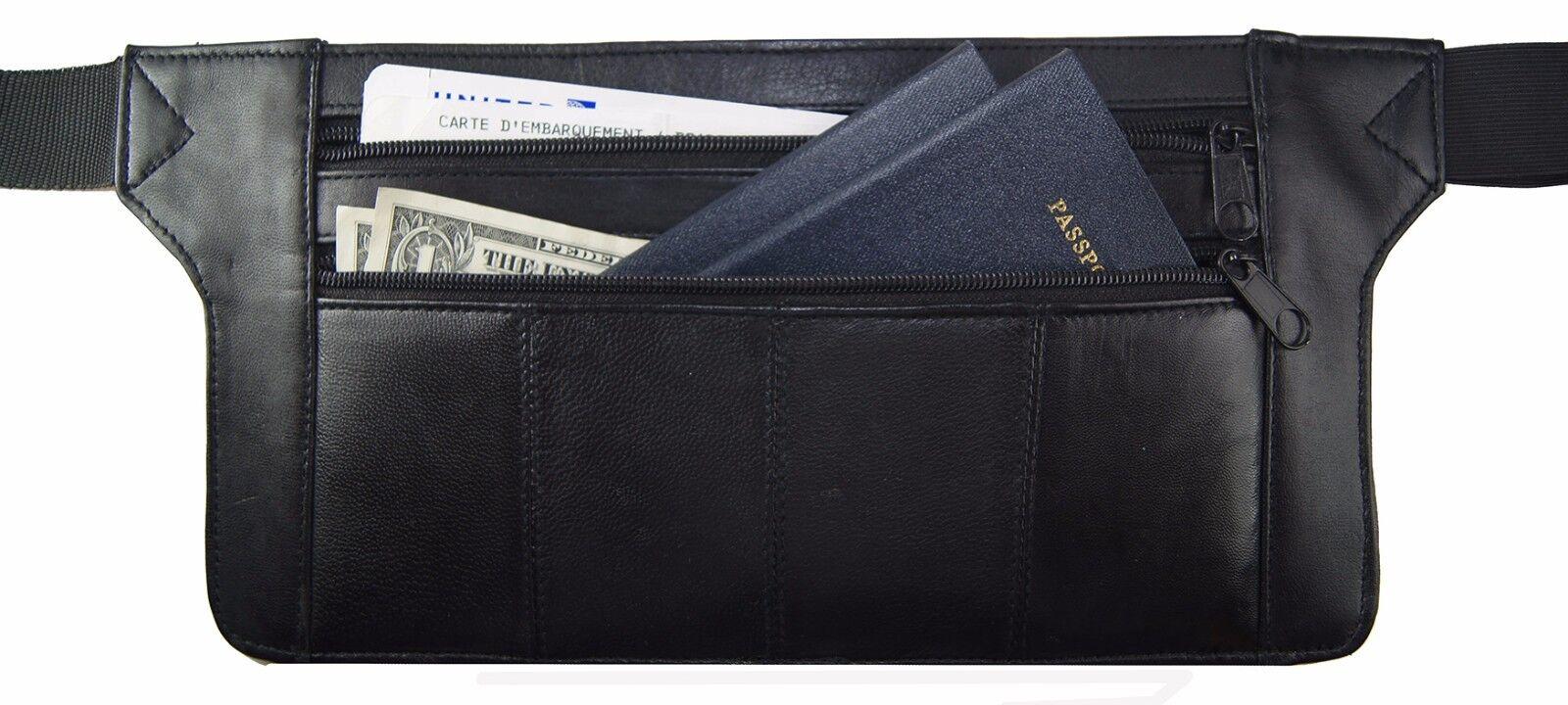 Genuine Real Leather Travel Organizer Bum Bag Hide Money Wai