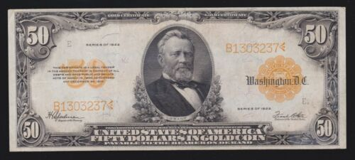US 1922 $50 Gold Certificate FR 1200 VF-XF (-237)