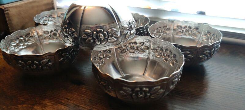 6 Antique Aztec Rose 925 Stirling Silver Bowls