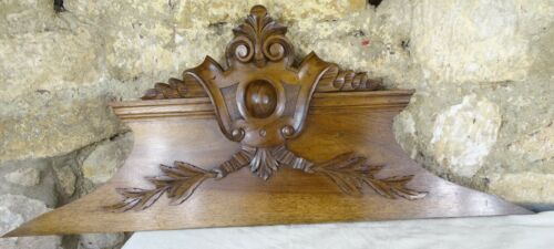 "36"" Antique French Hand Carved Wood Solid Walnut Pediment -   19th"