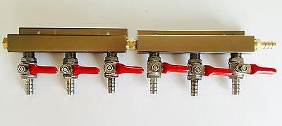 Beer Tap Kegerator Co2 Nitrogen Gas Regulator 6 Way Spliter Kegerator 516 Barb