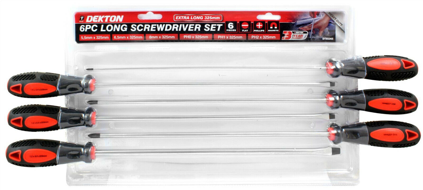 6PC EXTRA LONG SCREWDRIVER SET 325MM MAGNETIC TIP PHILLIPS FLAT HEAD HEAVY DUTY