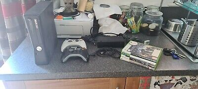 Microsoft Xbox 360 Slim 4GB Black Console 360s 4 Games 2 Controllers Pad + Leads